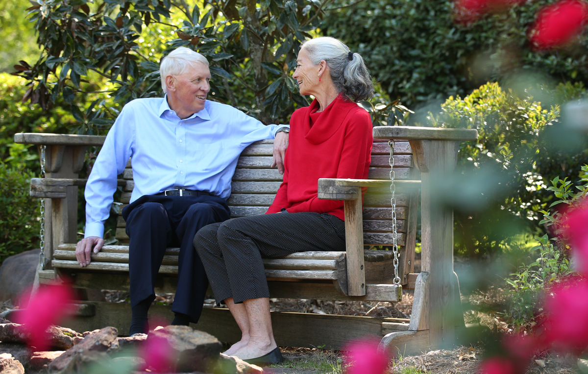 Dr. Tony Waldrop with his wife Dr. Julee Waldrop at the president's house near the University of South Alabama. Waldrop stepped down as president after a seven-year tenure that marked a pivotal time in South's history.