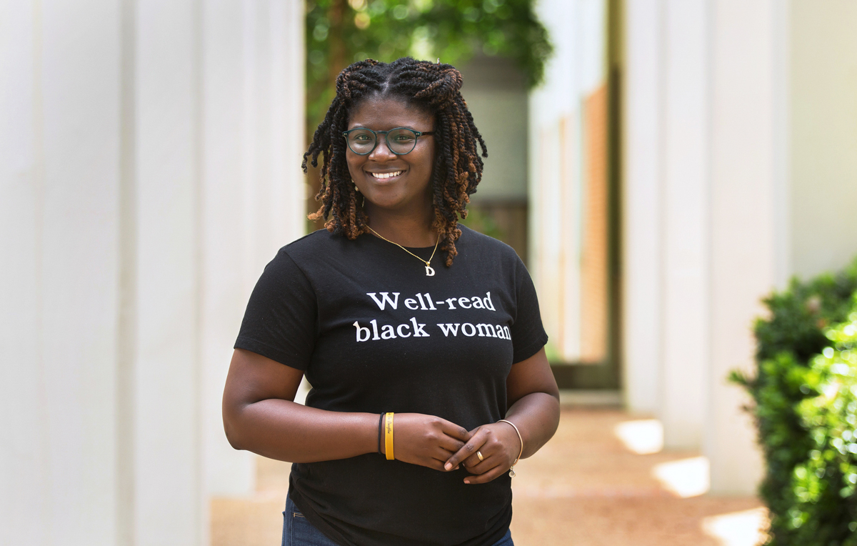 """De'Asia Aaron, a psychology major, is doing an interdisciplinary project called """"The Liminal Spaces: Exploring the Historical Construction of Black Identity/Identities."""""""