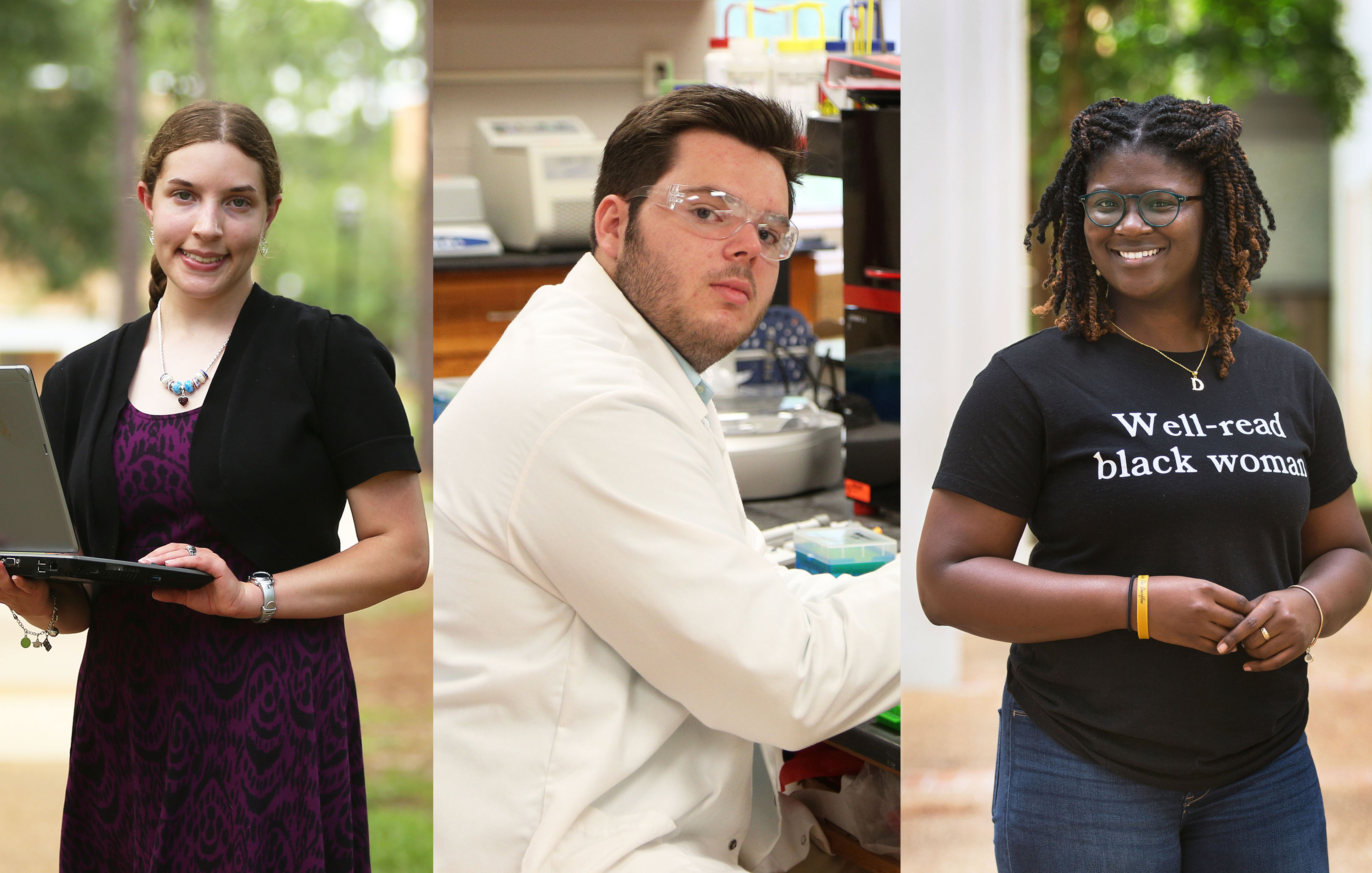 University of South Alabama students, from left, Liz Seiler, Ian Singley and De'Asia Aaron each earned a Summer Undergraduate Research Fellowship.