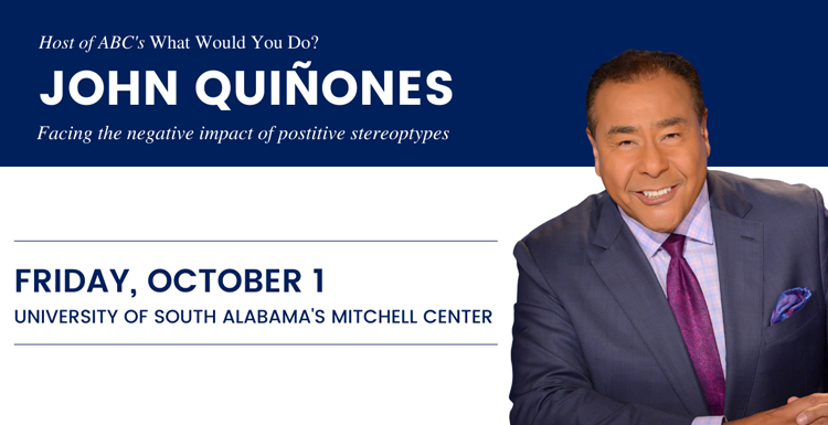 """John Quinones, ABC News correspondent and host of the television show """"What Would You Do?"""" will speak at the University of South Alabama's Mitchell Center on Friday, October 1, 2021."""
