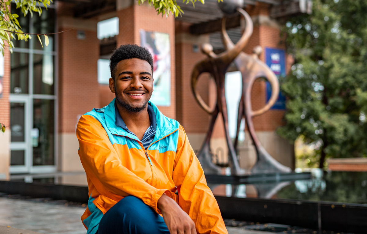 """Keon Farmer, a nursing major from Pass Christian, Mississippi, says he's learning to play volleyball at the Student Recreation Center. """"Whoever comes, comes, and we'll play from 6:30 to 11 o'clock closing at night. It's hard core."""""""