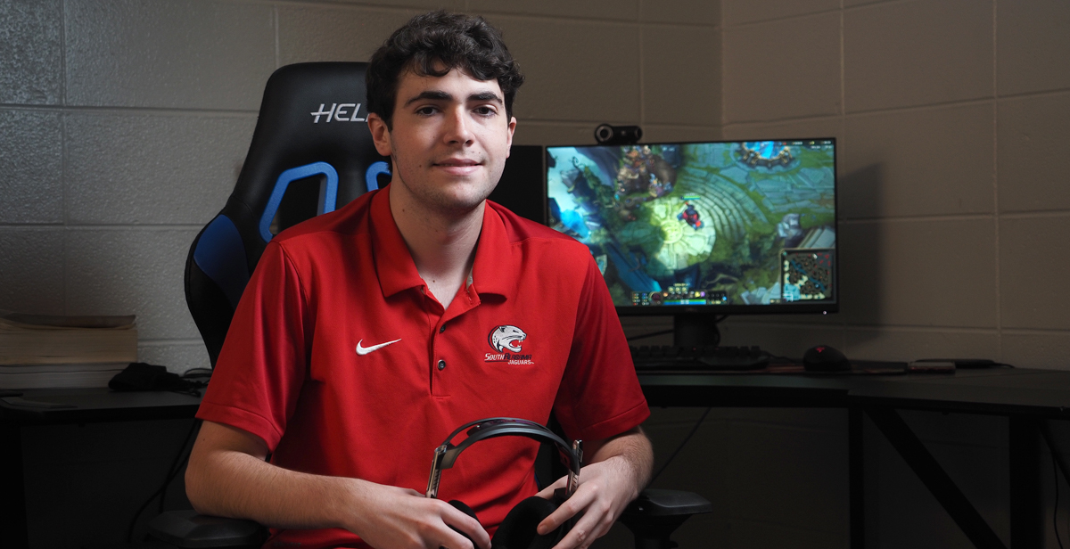 At Thompson High School, Carter Mandy was on a state championship esports team. He's joined South's team and is majoring in radiologic sciences.