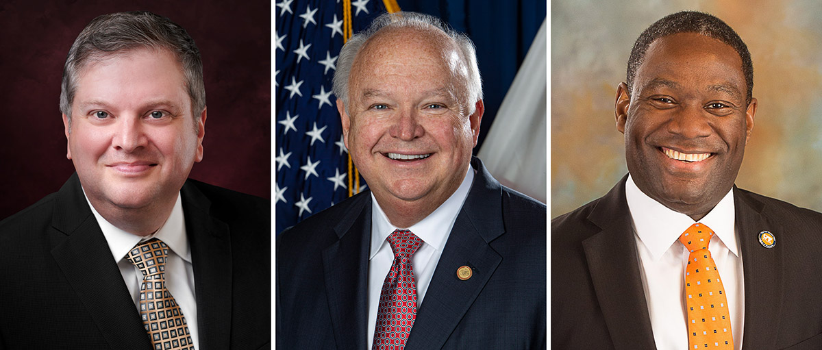 The University of South Alabama Board of Trustees have announcced three finalists for president. From left; Dr. Damon Andrew, Dean and Professor, College of Education, Florida State University; Mr. Jo Bonner, Chief of Staff to Alabama Gov. Kay Ivey; Dr. Michael Tidwell, Immediate Past President, The University of Texas at Tyler.