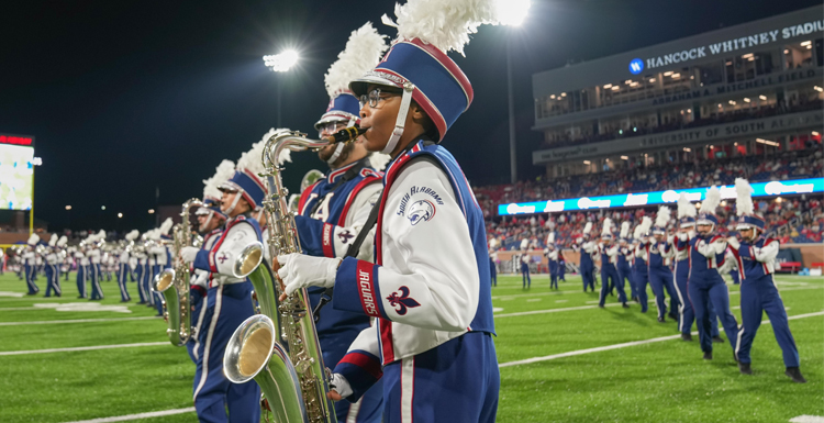 The Jaguar Marching Band performs during South's football game against Georgia Southern at Hancock Whitney Stadium, October 14, 2021.