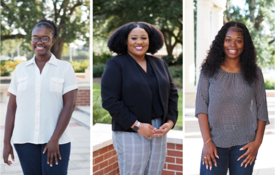 From left: Priscilla Agyemang, Kennedy Reese and Amiyah Kelly have been awarded the first Leaders in Social Justice and Perseverance scholarship established by the 100 Black Men of Greater Mobile.