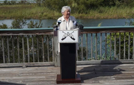 Alabama Governor Kay Ivey announces at an October 15, 2021 press conference that $41 million dollars from Gulf of Mexico Energy Security Act of 2006 will fund 17 separate projects around the State. South's project, the Healthy Ocean Initiative, will receive $2,018,880 of that total.