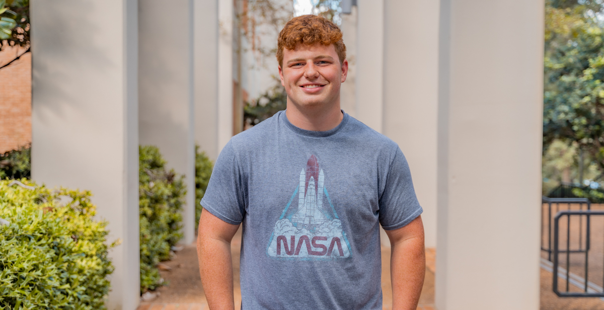 Cooper Forsyth, a geology major from McCalla, Alabama, has plans to go to graduate school and earn a Ph.D. Field research and travel peak his interest.