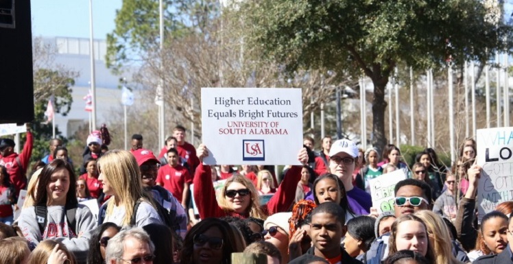 Higher Education Day is considered Montgomery's largest annual advocacy rally, as students and employees from public universities throughout the state come together to remind Alabama's political leaders of the need to improve appropriations for higher education. data-lightbox='featured'