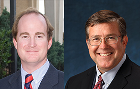 Dr. Bret Webb, left, and Dr. Scott Douglass, both with USA's department of civil engineering, will provide expertise related to hurricane storm surge and waves in their role with the Community Resilience Center of Excellence.