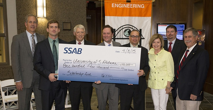 Global steel company SSAB has announced a $110,000 pledge to establish an endowed scholarship program in USA's College of Engineering.  Present for the announcement are, from left, Mark Hoffman, Mitchell-Moulton Scholarship Initiative campaign chair; Matt Hancock, 2015-2016 SSAB Scholarship recipient; Dr. Tony Waldrop, University president; Joshua Cogswell, director, University Development; Mark Bush, general manager, SSAB Mobile Operations; Geri Moulton, Mitchell-Moulton Scholarship Initiative honorary co-chair; Greg Scott, Human Resources director, SSAB Mobile Operations; and Dr. John Steadman, College of Engineering dean.