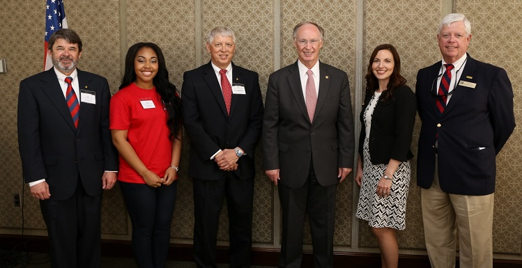 Among those in attendance at a USA luncheon at Higher Education Day are, from left, USA Trustee Mike Windom, SGA President Danielle Watson, USA President Dr. Tony Waldrop, Gov. Robert Bentley, Faculty Senate President Dr. Julie Estis, and USA National Alumni Association President Michael Diehl.