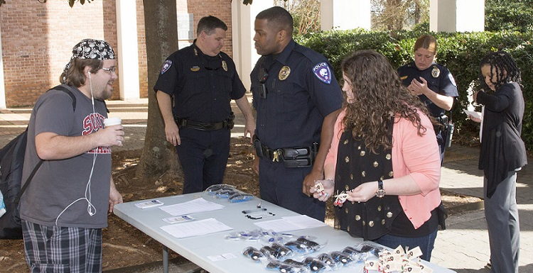 Coffee with a Cop is one of many USA police initiatives building stronger relationships within the University community. USA has been named one of America's Safest College Campuses by BestColleges.com.
