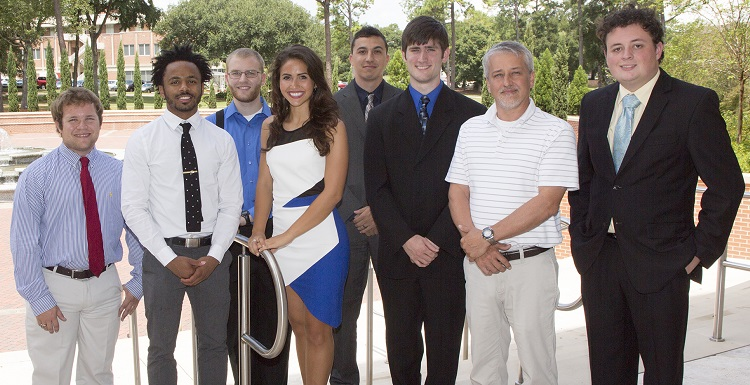Nine USA engineering students earned Tau Beta Pi scholarships for their senior year of study. They are, from left, William Spikes, a chemical engineering major from Mobile; George Moore, a mechanical engineering major from Lucedale, Miss.; Bradley Harris, a chemical engineering major from Mobile; Boni Yraguen, a mechanical engineering major from Roseburg, Ore.; Ryan Hutchison, a chemical engineering major from Seattle, Wash.; Benjamin Burleson, a chemical engineering major from Satsuma; John Mullins, an electrical engineering major from Pensacola, Fla.; and Robert Mines, a chemical engineering major from Pensacola, Fla. Not pictured is Brannon Kerrigan, an electrical engineering major from D'Iberville, Miss.