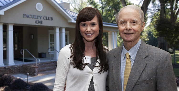 Mitchell Scholars alumnus Dr. Sara Long Jones was one of many former scholars who surprised program benefactor Abe Mitchell at the annual recognition event for Mitchell Scholars freshmen.