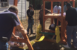 USA Students build swing at St. Johns United Methodist Church.