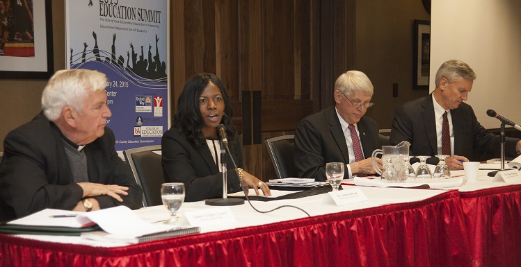 USA President Dr. Tony G. Waldrop joins education leaders during a panel discussion at the 2015 USA Education Summit and Founders Day held at the USA Mitchell Center. Waldrop discussed student academic success and support efforts. From left, the Rev. Gregory Lucey, president of Spring Hill College; Dean of Instructional Services Dr. Latitia McCane, Bishop State Community College; Waldrop; and Chancellor Dr. Mark Heinrich, Alabama Community College System.