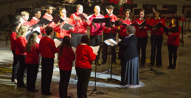 The USA Concert Choir, shown here at the USA Holiday Concert, will perform with the Mobile Symphony March 21 and 22 at the Saenger Theatre.