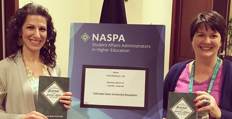 Dr. Krista Harrell, left, associate dean of students, and Dr. Peggy Delmas, assistant professor in the College of Education, were recently recognized for their article ?Partnering for a Purpose: Student Affairs, Academic Affairs and a Common Reading Program.?