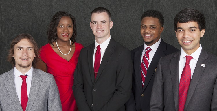 USA Student Government Association officers have been elected for the 2015-2016 academic year. They are from left, Daniel Currie, vice president; Ashley Ford, student at large; Micah Messer, chief justice; Trey Davis, attorney general and Ravi Rajendra, president. Not pictured is Marcus Williams, treasurer.