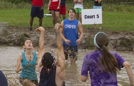 Members of the USA community go head-to-head at the 2015 Oozeball Tournament, an annual event hosted by USA Southerners, a student ambassador group, to raise funds for the Mitchell-Moulton Scholarship Initiative.