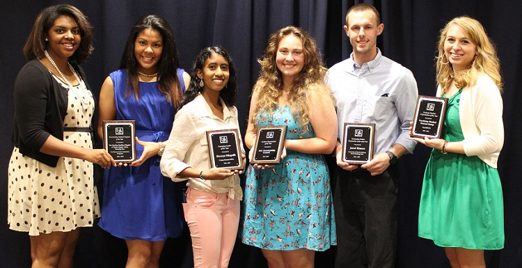 USA recognizes students during the annual Student Organization Awards Luncheon. From left are Tia Irvine and Rosa Elizabeth Gomez representing Alpha Kappa Alpha Sorority, Inc., for the Program of the Year award; Shravya Utlapali for Emerging Leader of the Year; Angelia McGaugh representing the USA Sustainability Council with the Student Organization of the Year award; Jared Elmore recognized for the Outstanding Student Leader of the Year award; and Molly Miller, SGA Student-at-Large.