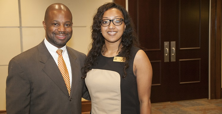 USA Office of Multicultural Student Affairs Director Dr. Carl Cunningham, left, and Coordinator Petre Freeman work to help students have a successful academic college experience at South Alabama.