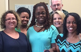 The following were actively involved in the USA Bro Code campaign, which won a national award from the Association of College Unions International. From left are Dr. Krista Harrell, associate dean of students and Title IX coordinator; James Contratto, associate director for student activities, University Programs; Leslie Weaver, counselor in Counseling and Testing Services; Kelsey Bryant, student; Katrina Kennedy, secretary, department of foreign languages and literatures in the College of Arts and Sciences; Howard Whitston, instructor, School of Computing; Dr. Carolyn Dolan, professor, community/mental health nursing, in the College of Nursing; FeAunte Preyear, health education and quality improvement coordinator, Student Health, Robbie Durr, area coordinator, department of housing and dining; and Maggie Fields, coordinator of Student Disability Services.