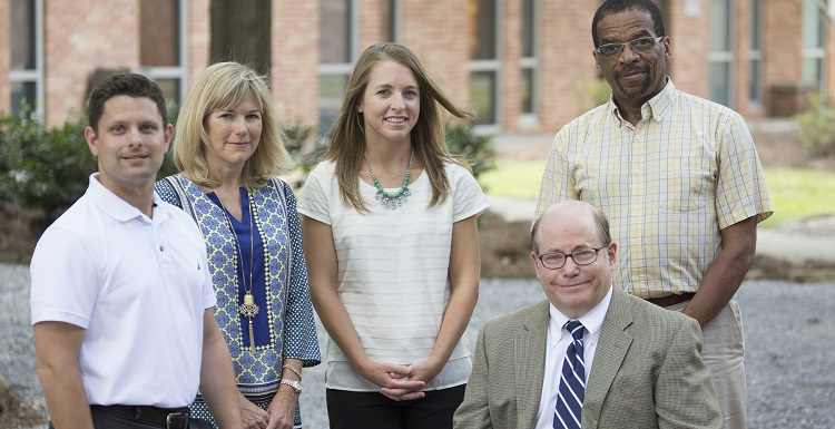 The first ALISA project cohort faculty members are, from left, Dr. Brad Swiger, Leigh Delaney, Sonna Farmer, Dr. Ed Lomax and, seated, is Dr. Cris Hollingsworth.