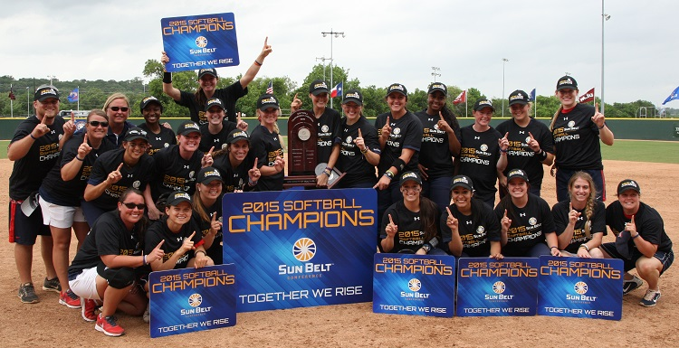 The University of South Alabama softball team claimed its third Sun Belt Conference Tournament title in four years on Saturday with a 2-0 defeat of top-seed Louisiana-Lafayette in San Marcos, Texas.