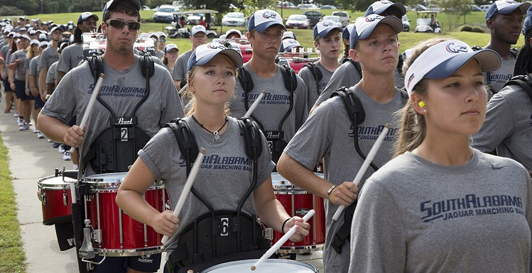 The Jaguar Marching Band greeted new students as they moved into campus residence halls Saturday during Move-In Day, one of the many events for USA's Week of Welcome.