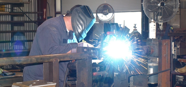 sparks fly as welder works