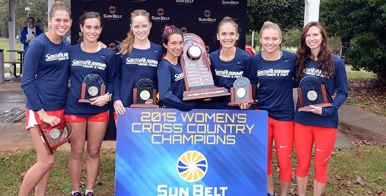 The University of South Alabama women's cross country team picked up the program's fourth Sun Belt title, with a total of 46 points. data-lightbox='featured'