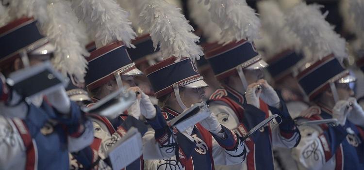 close-up shot of USA band members playing instruments