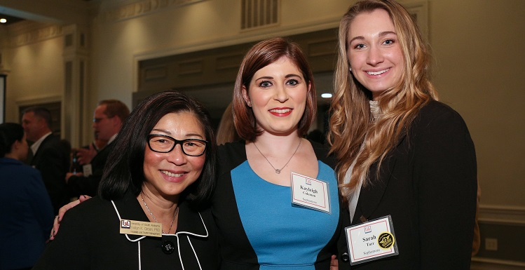 Dr. Evelyn Green, interim chair of the department of hospitality and tourism management, is joined by students Kayleigh Coleman, center, and Sarah Tarr, at a recent reception introducing students to industry leaders.