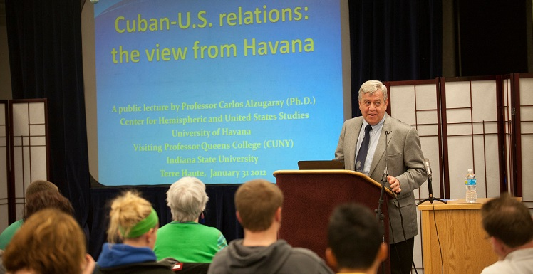 Former Cuban diplomat Dr. Carlos Alzugaray Treto speaks to students at Indiana State University about U.S.-Cuban relations. Photo courtesy of Indiana State University.
