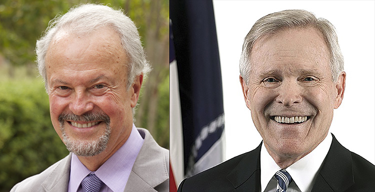 Dr. Richard Lapchick, left, an internationally recognized sports sociologist, and U.S. Secretary of the Navy Ray Mabus will be the spring 2015 commencement speakers.  data-lightbox='featured'