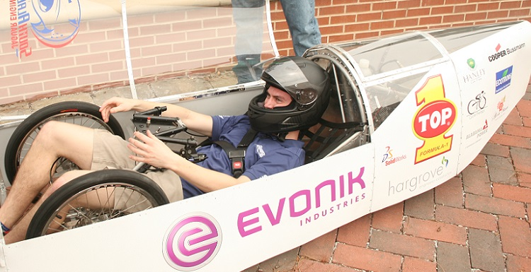 Brandon Troub, an engineering major at the University of South Alabama, demonstrates the USA Supermileage Car, which will be a highlight of the College of Engineering?s Car Show on Saturday at Shelby Hall on the USA campus.