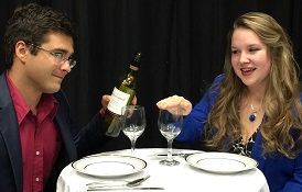 """Theatre majors Thomas J. Deen, left, and Cassidy Dangler star in """"Boy Meets Girl,"""" a drama about dating and modern relationships."""