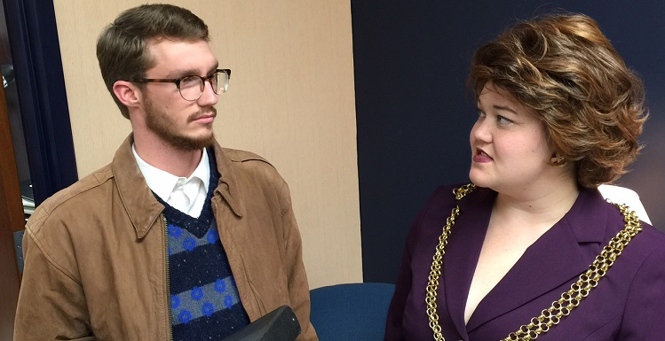 "Dr. Stockmann, portrayed by Brandon Mallette, finds less than a warm welcome from the town's mayor, portrayed by Morgan Carithers, in the upcoming USA Theatre production of ""Enemy of the People."""