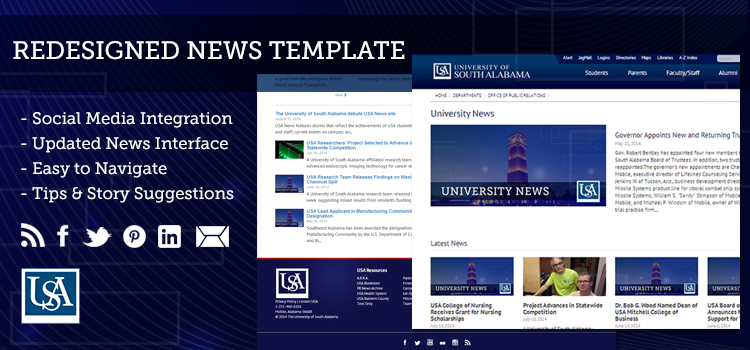 USA News features stories that reflect the achievements of USA students, faculty and staff; current events on campus; and the impact of the USA community. USA News focuses on stories of interest to both internal and external audiences, is interactive and will grow to feature video and photo galleries that will tie into social media platforms.