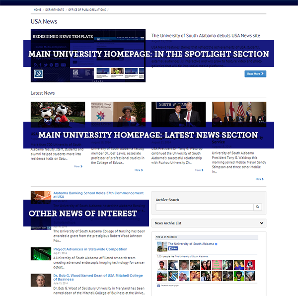 University News homepage explained. The top five stories on the site will mirror the stories on USA's homepage.