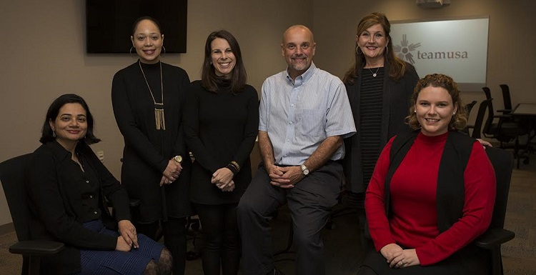 Recipients of internal funding grants for TeamUSA projects are, from left, Dr. Zoya Khan, associate professor of Spanish; Kimberly Jordan, MSN, RN, instructor of adult health nursing; Colleen Lynch, MSN, RN, CNL, instructor of adult health nursing; Dr. Phil Carr, Chief Calvin McGhee Endowed Professor of Native American Studies and professor of anthropology; Dr. Debra Swanzy, RN, assistant professor of adult health nursing; and Dr. Elizabeth Allison, assistant professor of leadership and teacher education. Not pictured: Dr. Theresa Wright, RN, vice chair and associate professor of adult health nursing. data-lightbox='featured'