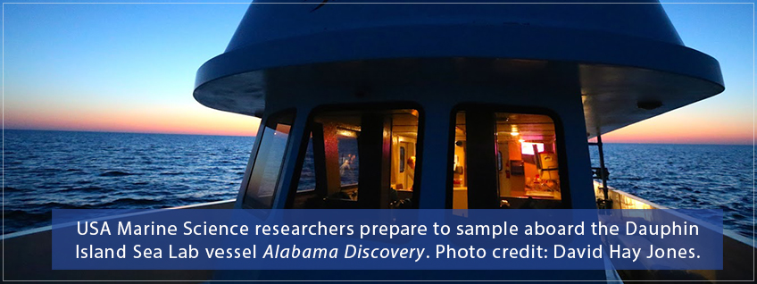 USA Marine Science researches prepare to take samples aboard a Dauphin Island Sea Lab vessel