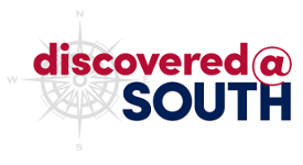 discovered@South with compass rose