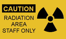 Caution sign for Radiation Area Staff Only
