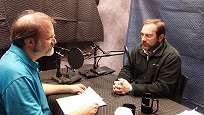 Steve Trout (left) and Mike Bunn (right) recording the War & Memory podcast.