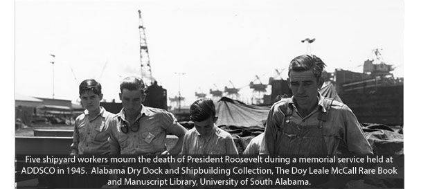 Shipyard Workers Mourning Death of President Roosevelt