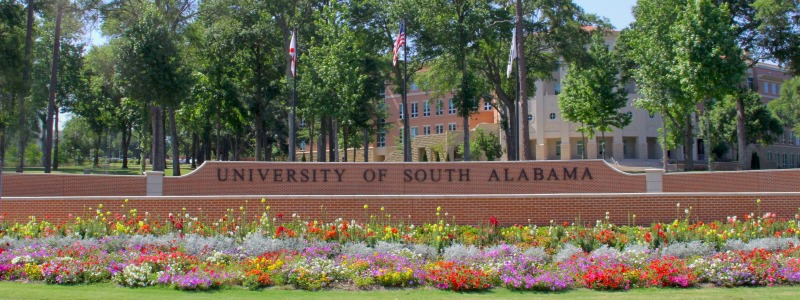 University of South Alabama Entry Sign from Road