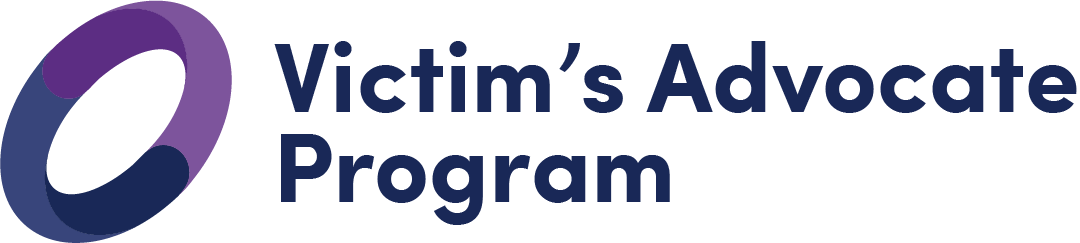 Victim's Advocate Program logo which is a purple and navy off-set circle that represents the unity of violence prevention and response resources.