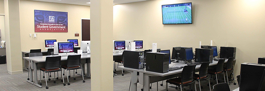 student center computer lab with computer workstations and projection tv